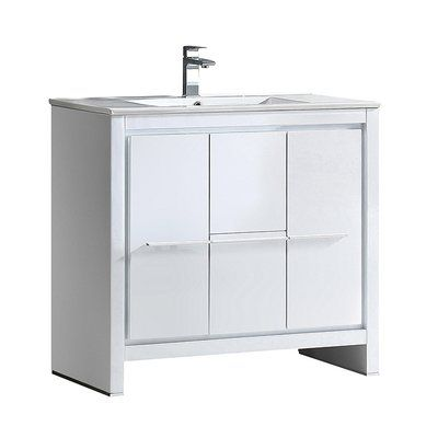 Fresca Allier 35 Single Bathroom Vanity Set Base Finish White Single Bathroom Vanity Vanity Set Modern Bathroom Cabinets