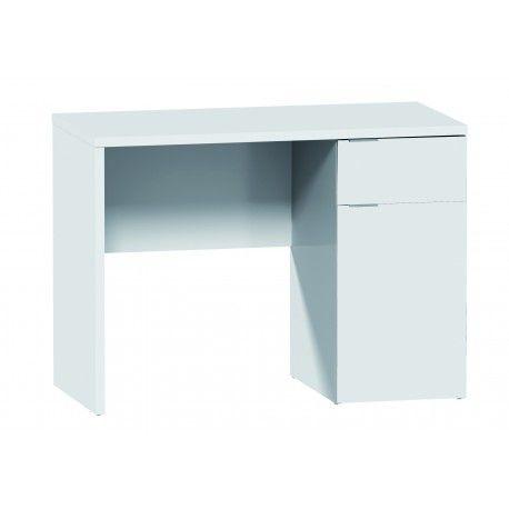 Mesa de Escritorio de Despacho Estudio u Ordenador Blanco D320-110B esta compuesto por aglomerado melaminizado blanco con un grosor del tablero 25mm y con un cajón con guias.