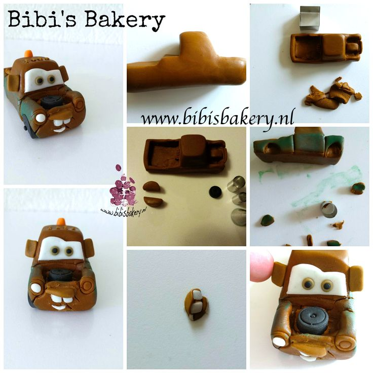 Pictorial featuring Mater from the animation movie Cars, made out of fondant . Enjoy! #bibisbakery