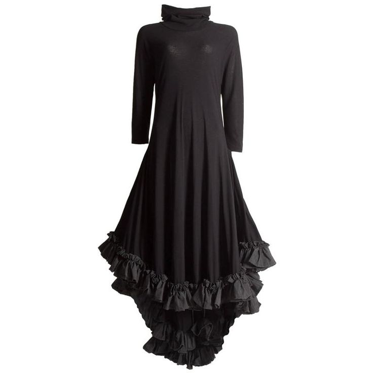 Yohji Yamamoto black ruffled swing dress, circa 1999 | From a collection of rare vintage evening dresses and gowns at https://www.1stdibs.com/fashion/clothing/evening-dresses/