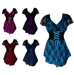 Trendy short sleeve plus size corset tops – up to 5x  I love this idea of a blouse corset.