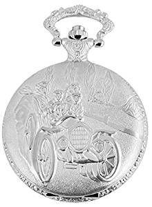 Classique analogico orologio da taschino con catena di metallo auto d' epoca 480722000072 argento colorato corpo in dimensioni 46 mm x 14 mm con colore del quadrante: bianco e vetro minerale