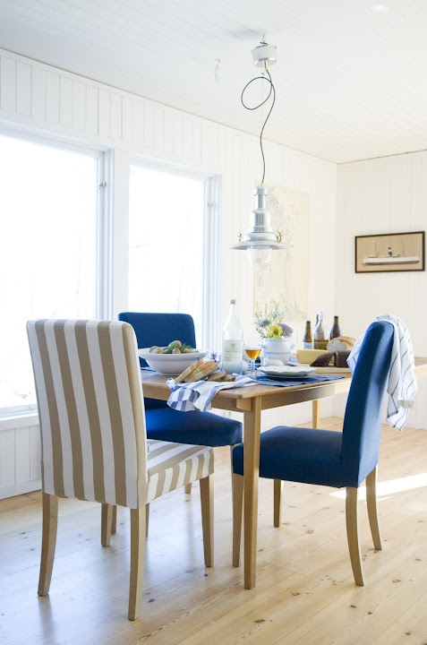 Create A Timeless Summer Look With Stripes And Navy Colour Bemz Covers For Henriksdal Chairs