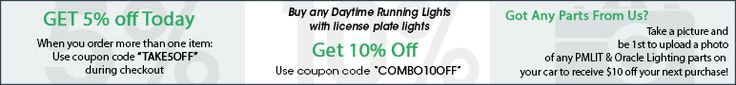 ShopPMLIT.com coupon code and discounts for Oracle Lighting and PMLIT auto accessories banner