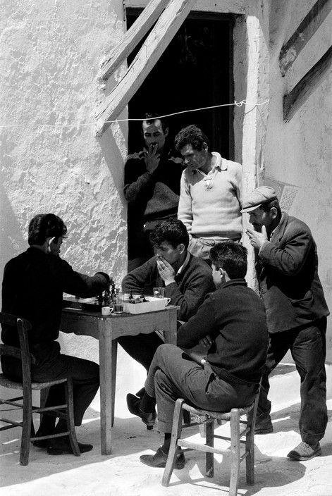Rene Burri - Chess players in Mykonos street. 1964.