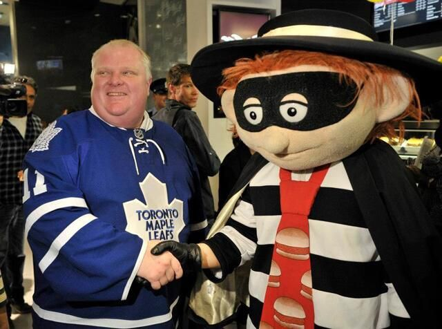 Toronto mayor Rob Ford consorting with known criminal The Hamburglar (Sorry, McDonald's.)