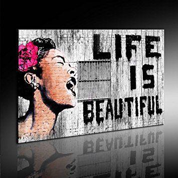 "Druck auf leinwand ""Banksy"" Graffiti - Bild 100x70cm k. Poster ! Bild fertig auf Keilrahmen ! Pop Art Gemälde Kunstdrucke, Wandbilder, Bilder zur Dekoration - Deko / Top 200 ""Banksy"" Streetart Wandbilder"