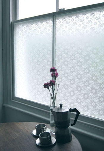 lace adhesive film for an ugly view in an apartment! how smart!