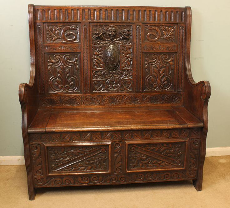 Antique carved oak box settle hall seat monks bench green