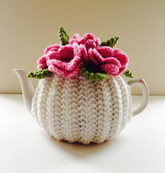 Pink Roses Floral Tea Cosy in Pure Wool Ivory by taffertydesigns