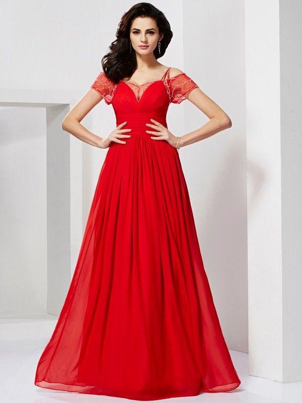 A-Line/Princess Spaghetti Straps Short Sleeves Ruffles Floor-Length Chiffon Dresses JollyProm