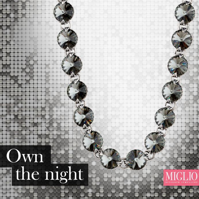 Own the night with our black #diamond #Swarovski #necklace, N1551.