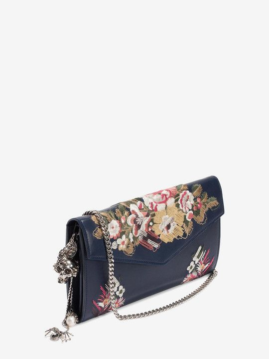 Floral Embroidery Nappa Wallet with Chain