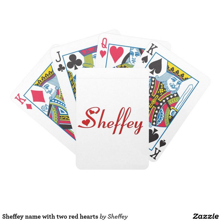 Sheffey name with two red hearts bicycle playing cards