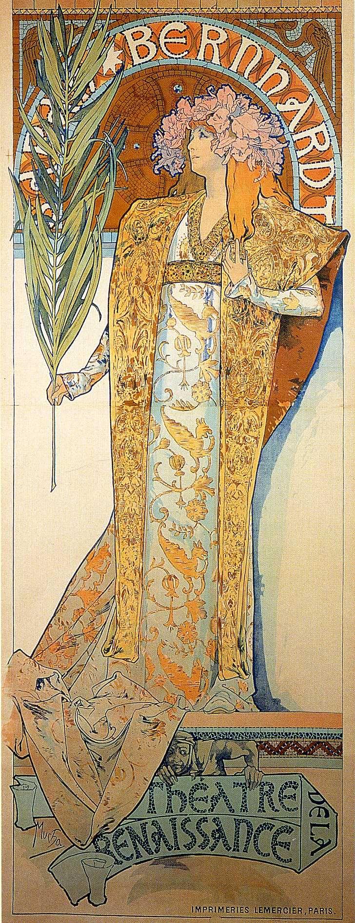 Poster for Victorien Sardou`s Gismonda starring Sarah Bernhardt at the Théâtre de la Renaissance in Paris (1894). Alphonse Mucha (Czech, Art Nouveau, 1860-1939)