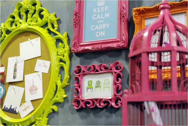 pink and green. faves: Colored Frames, Neon Decoration, Neon Frames Paint, Decoration For, Flea Market, Dallas Flea, Colorful Dining Rooms
