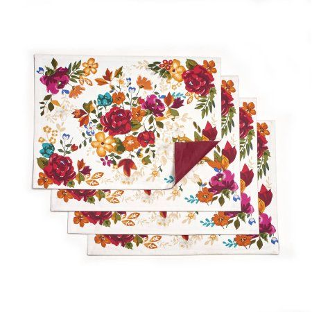 Pioneer Woman Timeless Floral Reversible Placemats, Pack of 4 - Walmart.com