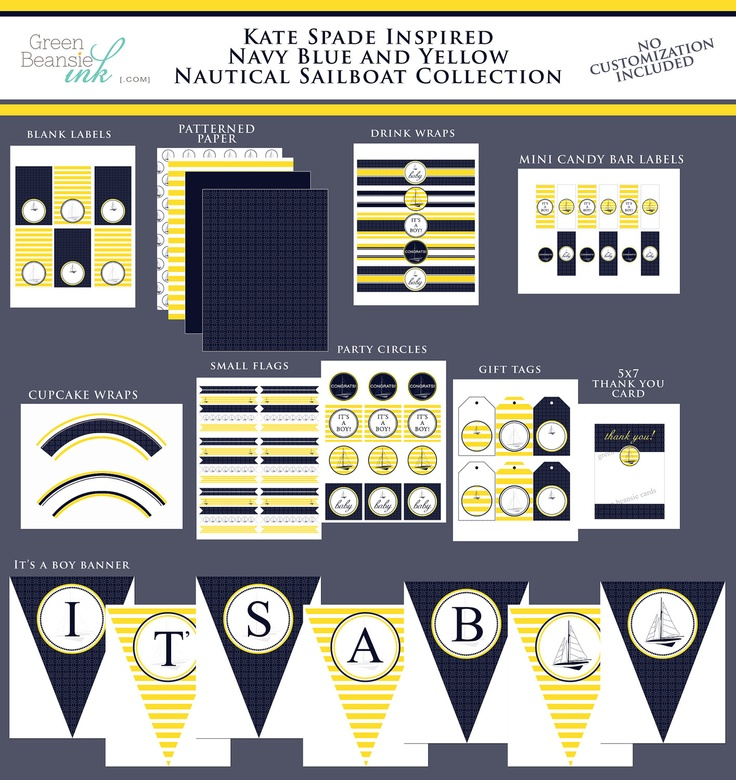 PREPPY NAUTICAL Printable Baby Shower Party Decor Package ...
