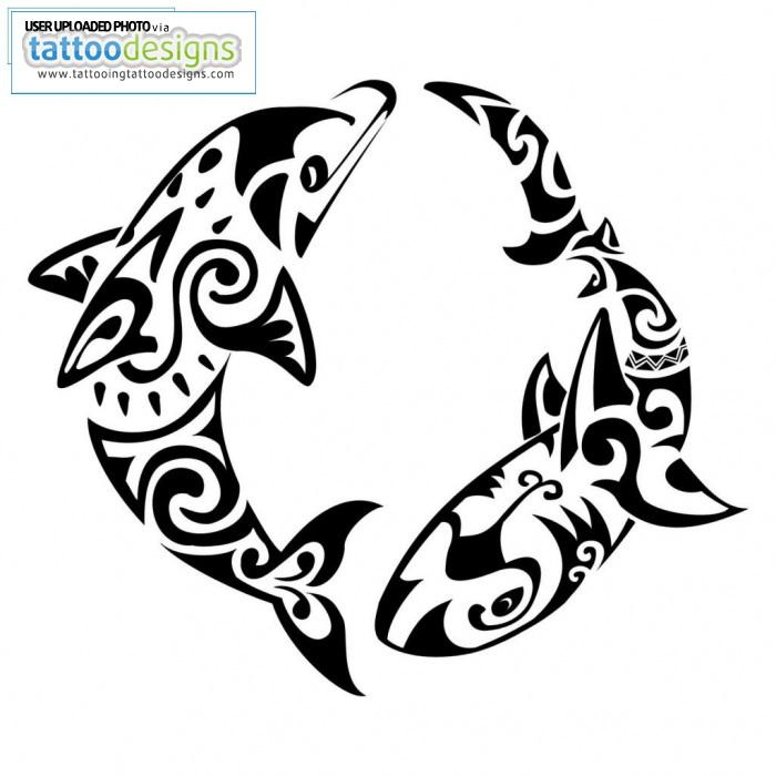Maori Dolphin And Shark Tattoo Pattern. Maybe like on the outside of a shoulder?