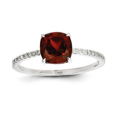 14k White Gold Diamond And Cushion Cut Garnet Ring