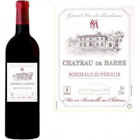 Acheter du Vin Rouge AOC Bordeaux Supérieur Château DE BARRE 2012 sur Barôchamp'. Découvrez notre sélection de vins français. Livraison rapide.