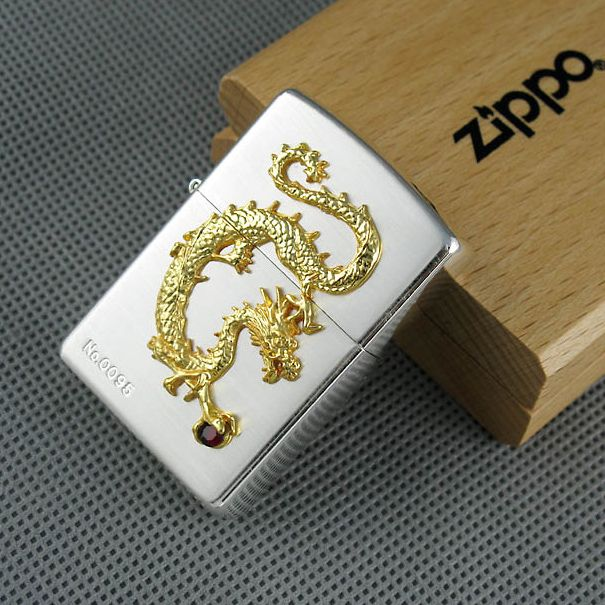 Japanese Plated Silver Golden Dragon Zippo Limited Edition