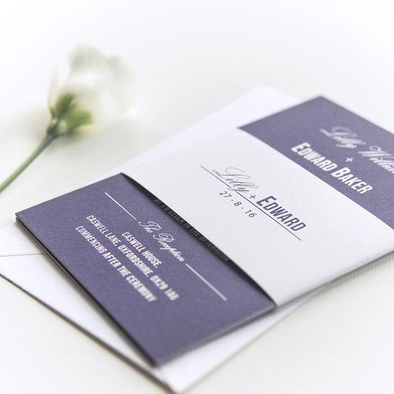 Traditional Style Wedding Invitation / Navy Blue - SAMPLE