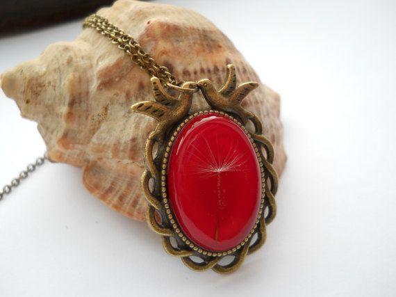 Real dandelion pendant resin jewelry antique brass by LightPurple