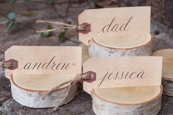 Table Name Cards, Placecards & Escort Cards - Personalized Hand Calligraphy -  Rustic / Vintage Inspired / Stained / Woodland