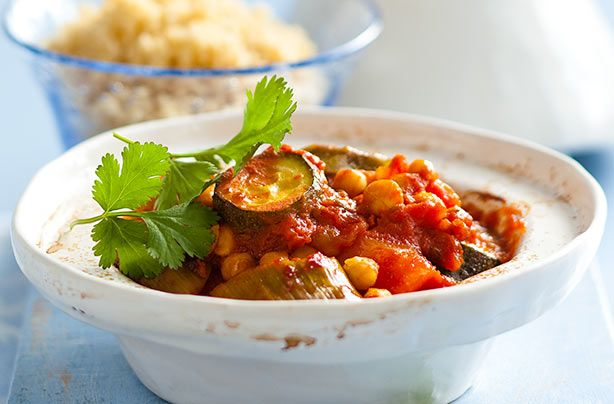This meat-free Moroccan root tagine with couscous is a simple dish which is bursting with flavour. Couscous can be made in minutes, along with a handful of sweet roasted veggies, this delicious dish is well worth the wait. The longer the tagine is cooked, the softer and more flavoursome the vegetables get. If you want to add in any meat, brown first before cooking. You could also use up leftover chicken in this dish too. Just add it last if it�s ready-cooked.