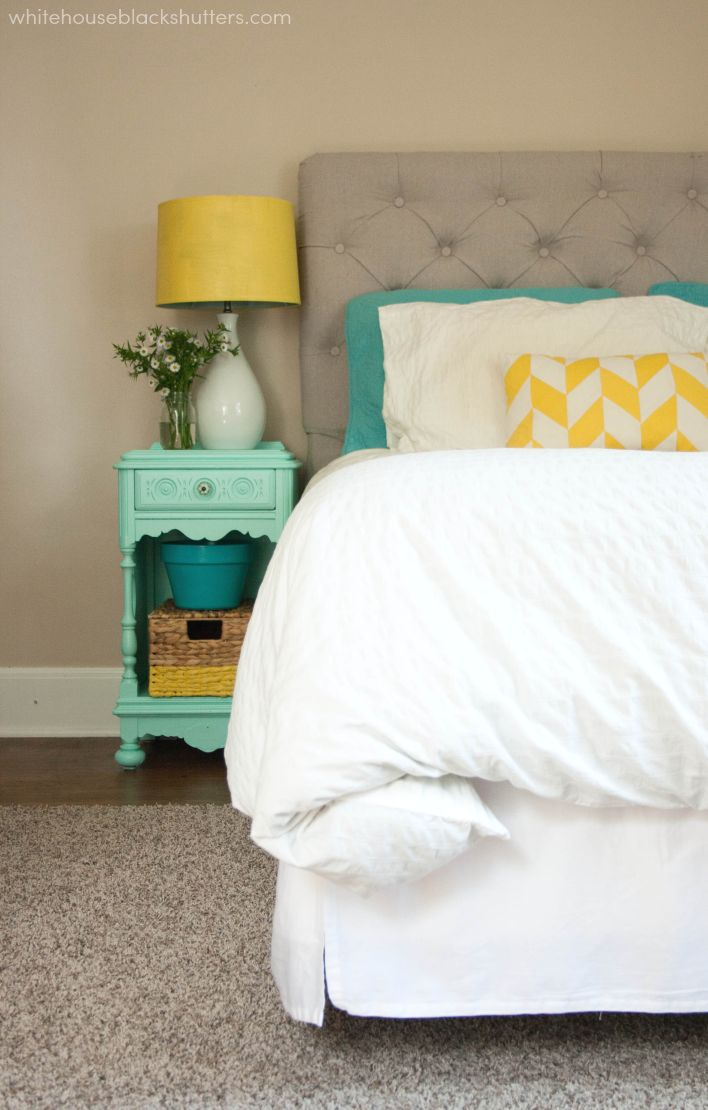 A simple trick to sprucing up your room is to update your nightstand with a bright coat of mint green paint. Try Valspar's Woolly Mint paint color for your next DIY project.