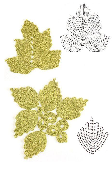 Lindos modelos de folha de crochê com gráfico.  Comentar Comentar