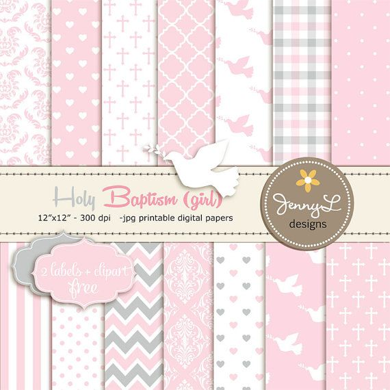 Girl Baptism Digital Papers First Communion por JennyLDesignsShop