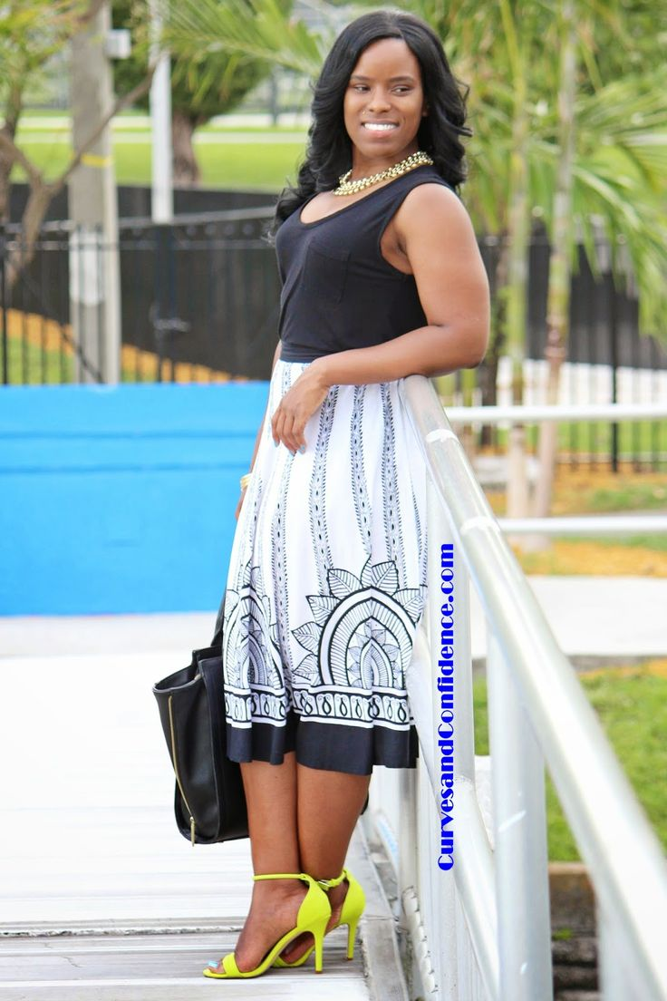 Curves and Confidence | T-Shirts and Midi Skirts | Black and White Midi Skirt | Neon Sandals | @target |