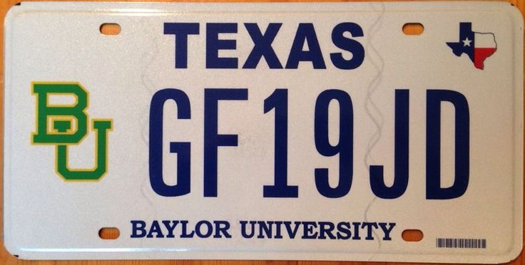 Texas Baylor University License Plate Ncaa Basketball Bears Waco College Baptist