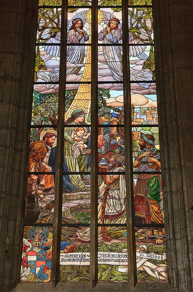 Painted glass murals in the Church of the Assumption of Our Lady in Kutna Hora, Czech Republic