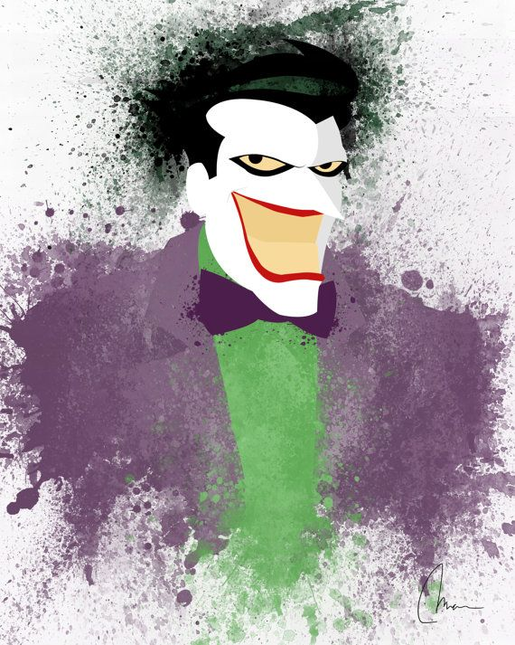 Original Joker Art Print Home Decor Splatter Art by SkeletonsL1ve