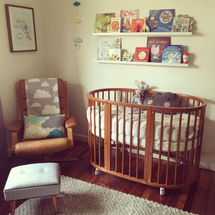 Nursery, stokke cot, G Mobel reclining leather armchair, Ikea Ribba shelves