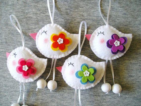 Spring Birds – Felt Ornaments – Cute Home Decor – Funny Flowers – Felt Decor – Handmade Embroidery – Set of 4 – White Red Green
