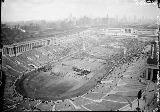 """While made nationally famous as the home of """"Da Bears,"""" Chicago's Soldier Field has a storied history as a municipal gathering place and host to countless events of the..."""