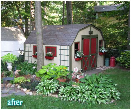 Brick Around Shed With Mulch And Flowers: 17 Best Images About Garage Landscaping On Pinterest