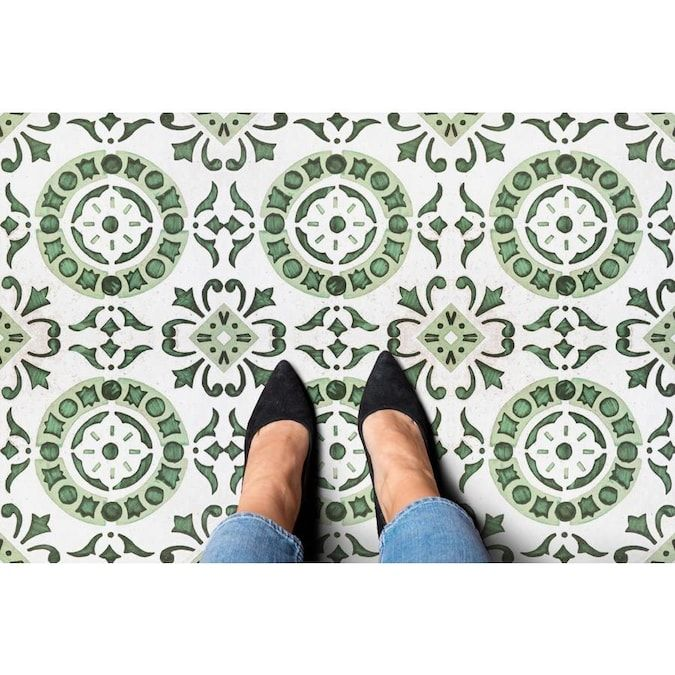 Achim Retro 20 Piece 12 In X 12 In Green Medallion Peel And Stick Vinyl Tile Lowes Com In 2020 Vinyl Tile Vinyl Flooring Tile Floor