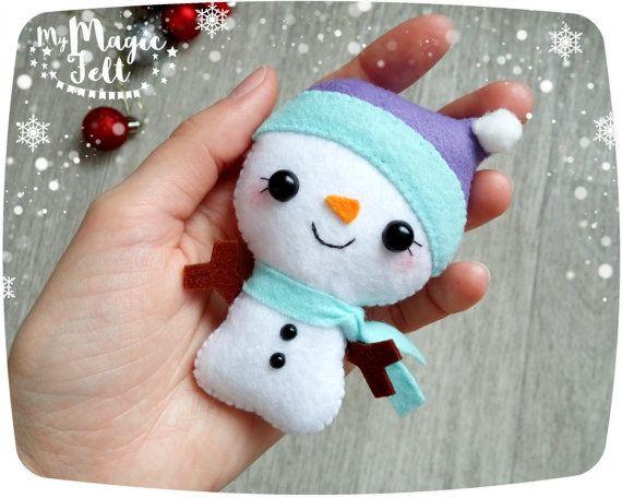Adornos navideños fieltro adorno de muñeco de nieve por MyMagicFelt
