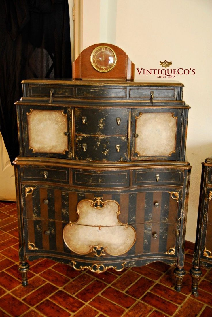 Antique Steampunk 3p Shabby Distressed Painted Bedroom