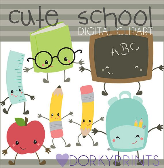 School Clip Art -Personal and Commercial Use- School Days Clip Art, crayons, pencil, school bus, kawaii clipart