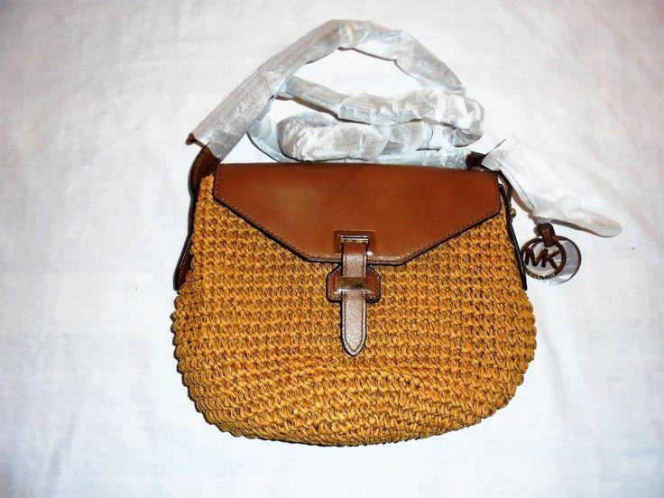 MICHAEL KORS Naomi Medium Woven Straw Walnut Messenger Crossbody Bag NWT #MichaelKors #MessengerCrossBody