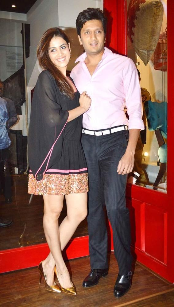 Riteish Deshmukh with Genelia D'Souza at the launch of Sussanne Roshan, Seema Khan and Maheep Kapoor's retail boutique Bandra 190. #Fashion #Style #Bollywood #Beauty
