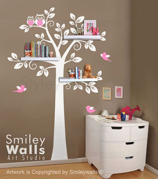 very cute love the colors! Shelf Tree Wall Decal Children Wall Decal Nursery door smileywalls, $89.00