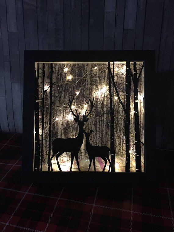Deer lighted shadow box 8x8, Night light, christmas decor, hunting