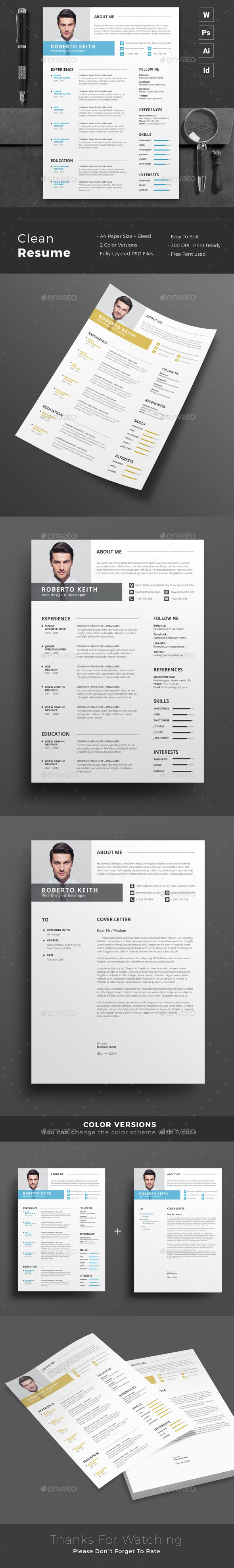 Resume Word Template / CV Template with super clean and modern look. Clean Resume Template page designs are easy to use and customize, so you can quickly tailor-make your job resume for any opportunity and help you to get your job. This Infographic Resume CV Template is made in Adobe Photoshop, Illustrator, Indesign format and very popular word processor, MS Word aka Microsoft Word. #cv #resume #template